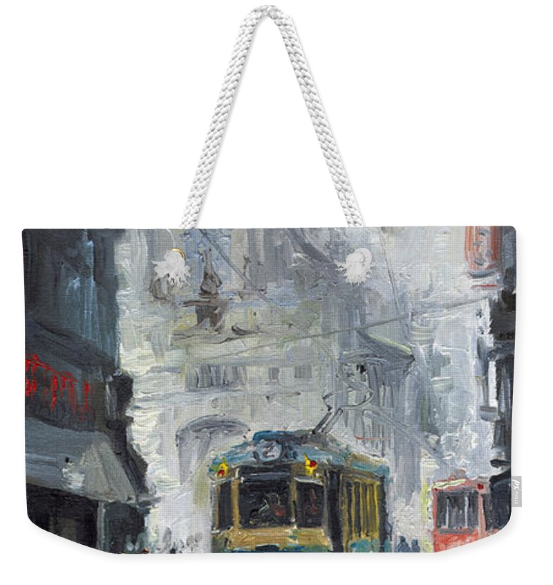 Oil On Canvas Weekender Tote Bag featuring the painting Prague Old Tram 04 by Yuriy Shevchuk