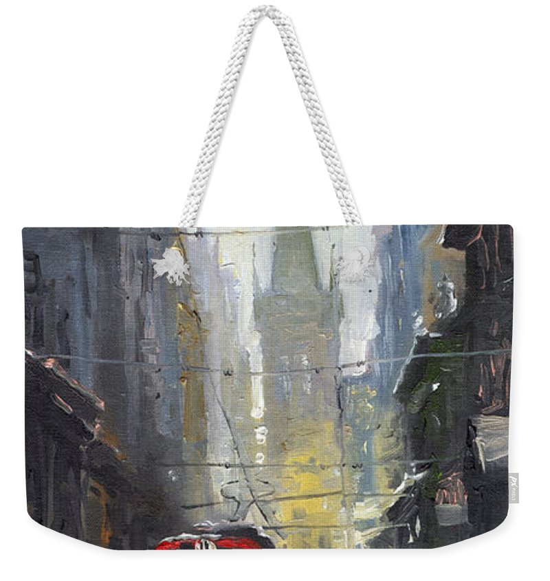 Oil On Canvas Paintings Weekender Tote Bag featuring the painting Prague Old Tram 05 by Yuriy Shevchuk