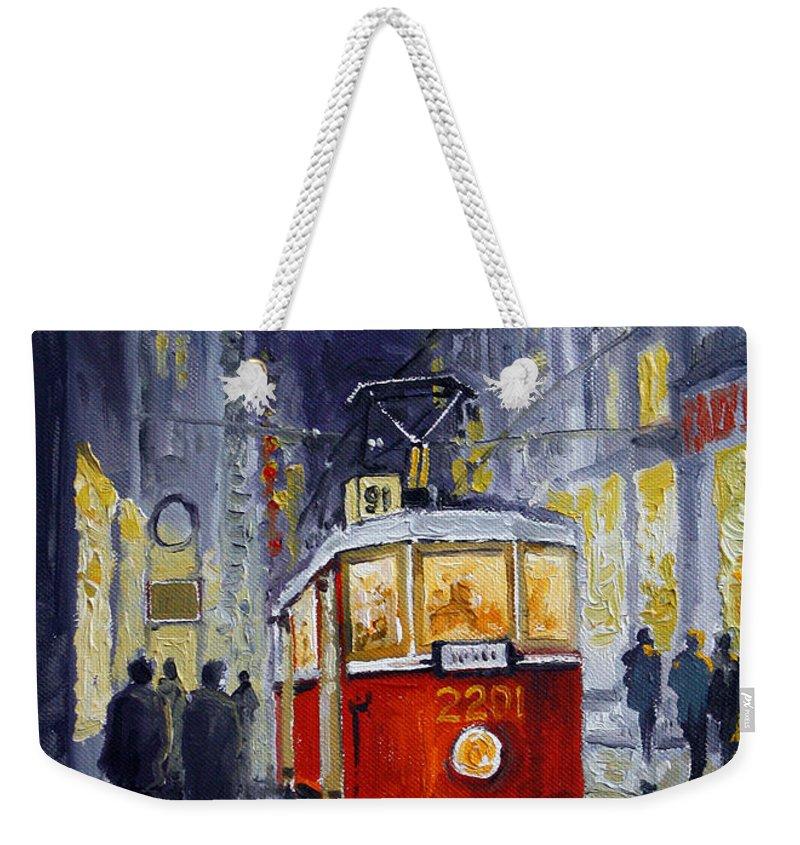 Oil Weekender Tote Bag featuring the painting Prague Old Tram 06 by Yuriy Shevchuk