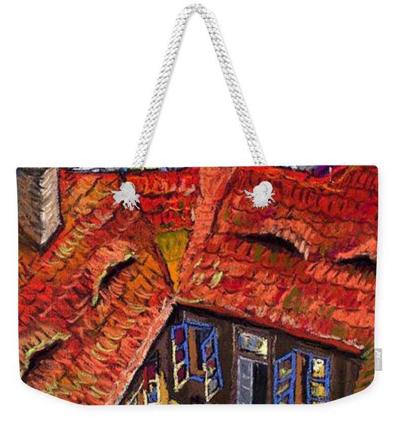 Pastel Weekender Tote Bag featuring the painting Prague Roofs 01 by Yuriy Shevchuk