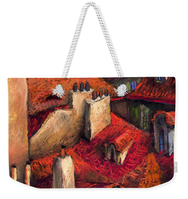 Prague Weekender Tote Bag featuring the painting Prague Roofs by Yuriy Shevchuk