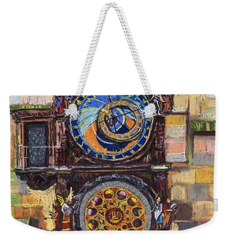 Cityscape Weekender Tote Bag featuring the painting Prague The Horologue at OldTownHall by Yuriy Shevchuk