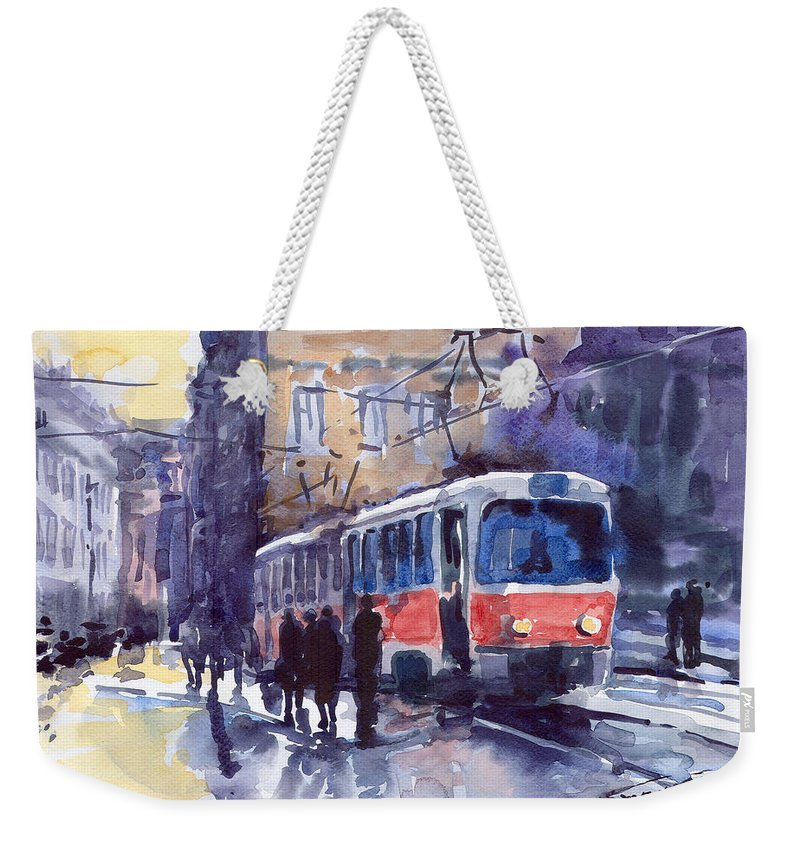 Cityscape Weekender Tote Bag featuring the painting Prague Tram 02 by Yuriy Shevchuk