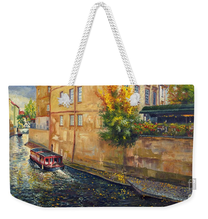 Oil.prague Weekender Tote Bag featuring the painting Prague Venice Chertovka 2 by Yuriy Shevchuk