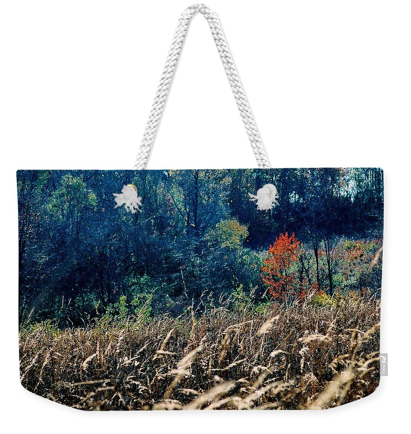 Landscape Weekender Tote Bag featuring the photograph Prairie Edge by Steve Karol