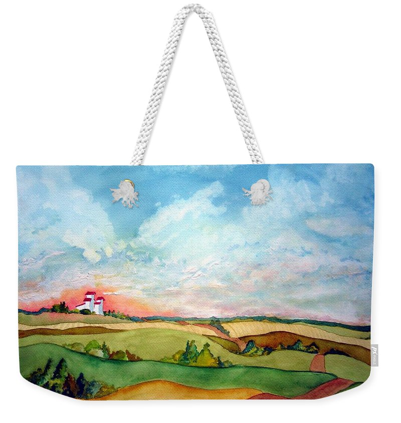 Prairie Grain Elevators Weekender Tote Bag featuring the painting Prairie Grain Elevators by Joanne Smoley