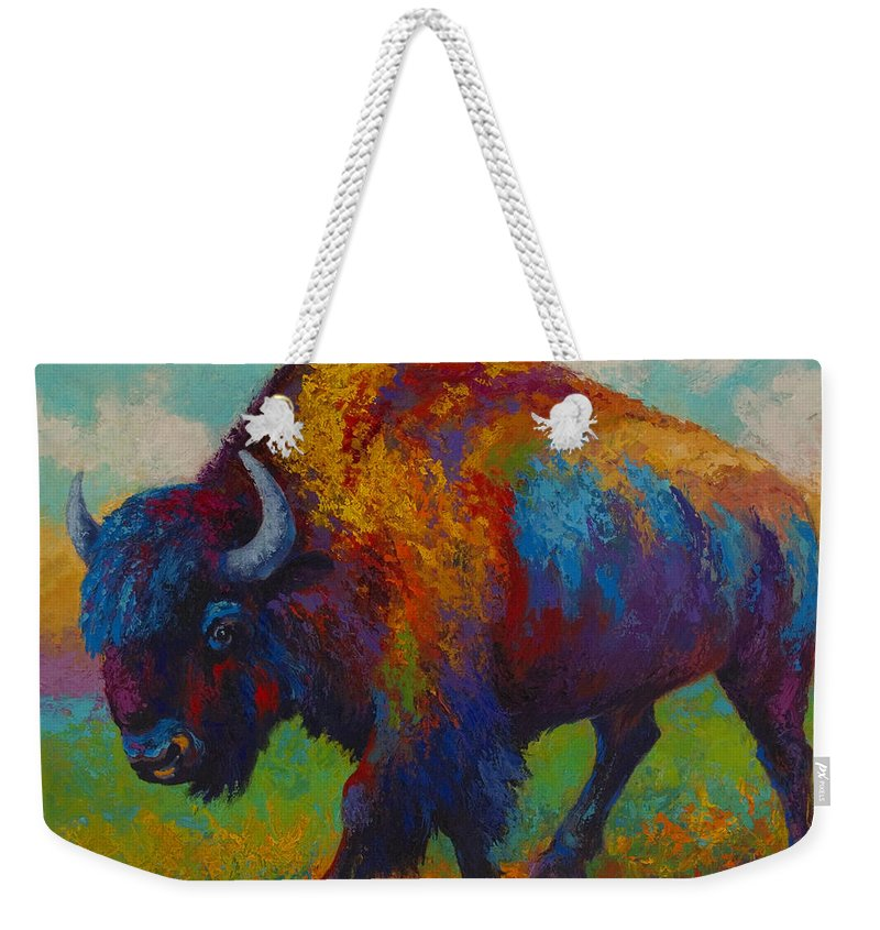 Bison Weekender Tote Bag featuring the painting Prairie Muse by Marion Rose