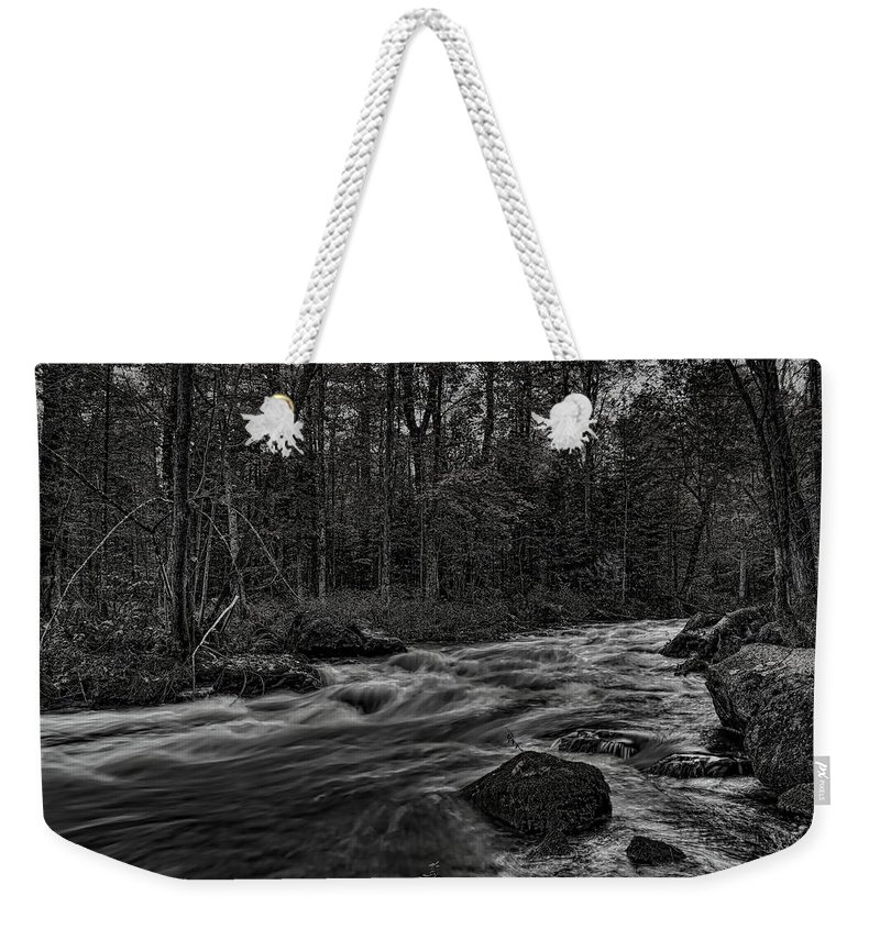 Dale Kauzlaric Weekender Tote Bag featuring the photograph Prairie River Whitewater Black And White by Dale Kauzlaric