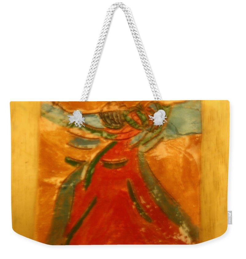 Jesus Weekender Tote Bag featuring the ceramic art Praise God - Tile by Gloria Ssali