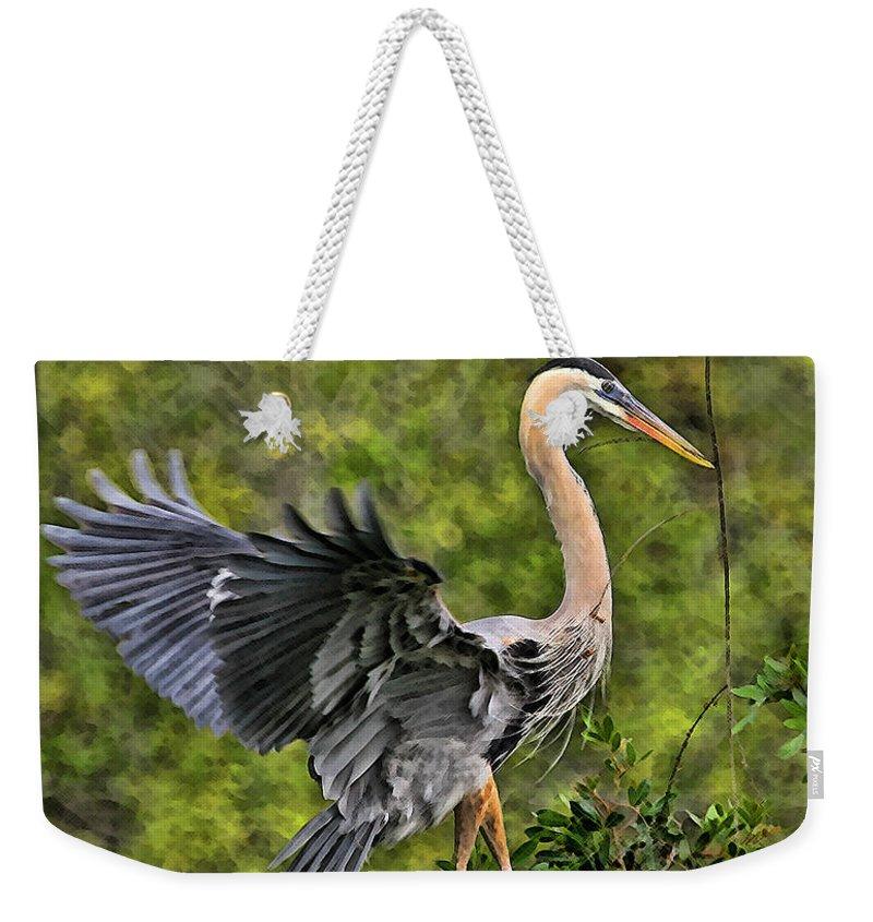 Blue Heron Bird Wildlife Dancing Florida Shore Photography Digital Art Photograph Weekender Tote Bag featuring the photograph Prancing Heron by Shari Jardina