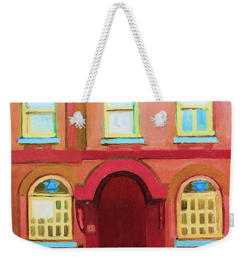 Bagg Street Synagogue Weekender Tote Bag featuring the painting Prayer Shawls by Carole Spandau