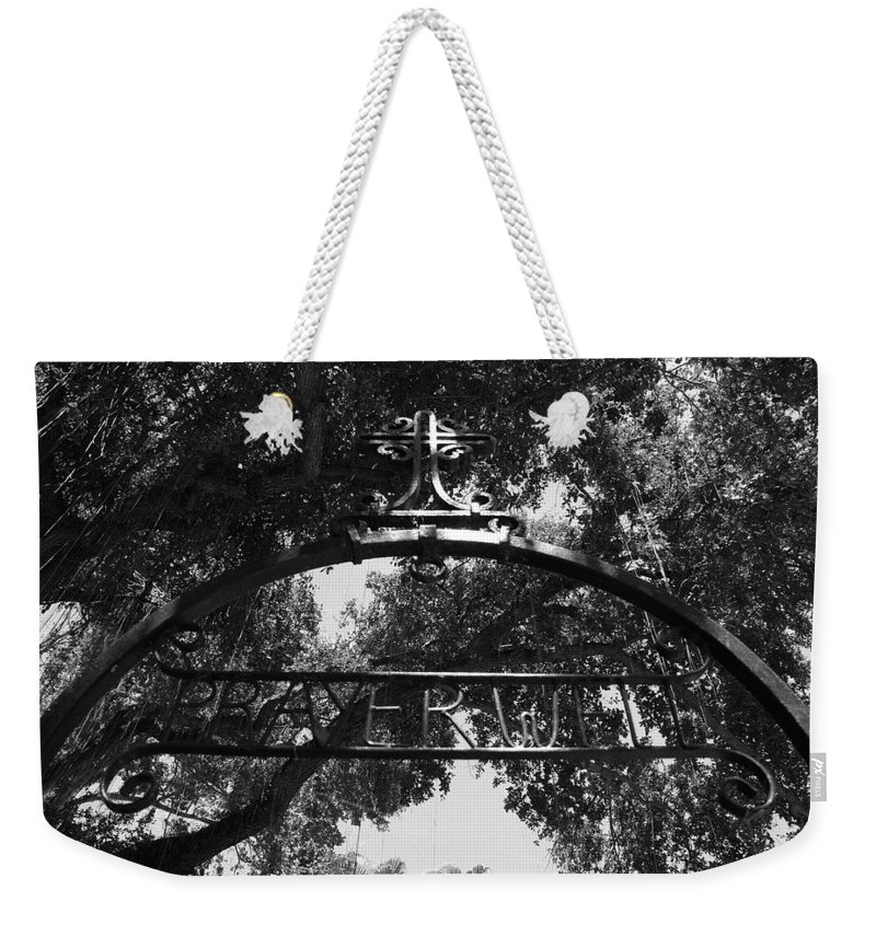 Black And White Weekender Tote Bag featuring the photograph Prayer Well by Rob Hans