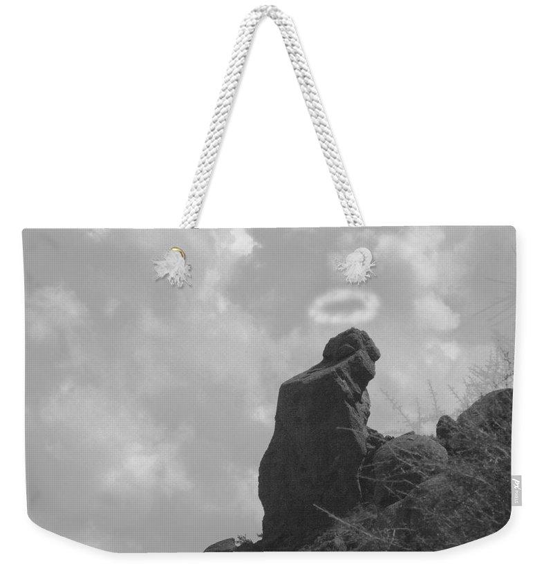 'praying Monk' Weekender Tote Bag featuring the photograph Praying Monk - Arizona - Poster Print by James BO Insogna