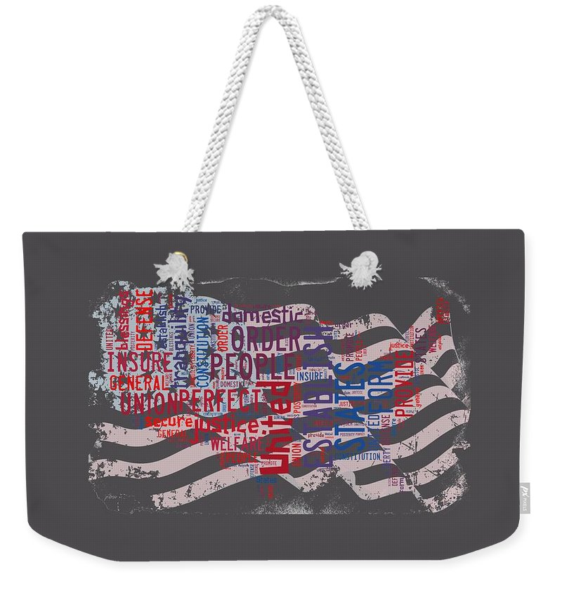 Wright Fine Art Weekender Tote Bag featuring the digital art Preamble To The Constitution On Us Map by Paulette B Wright