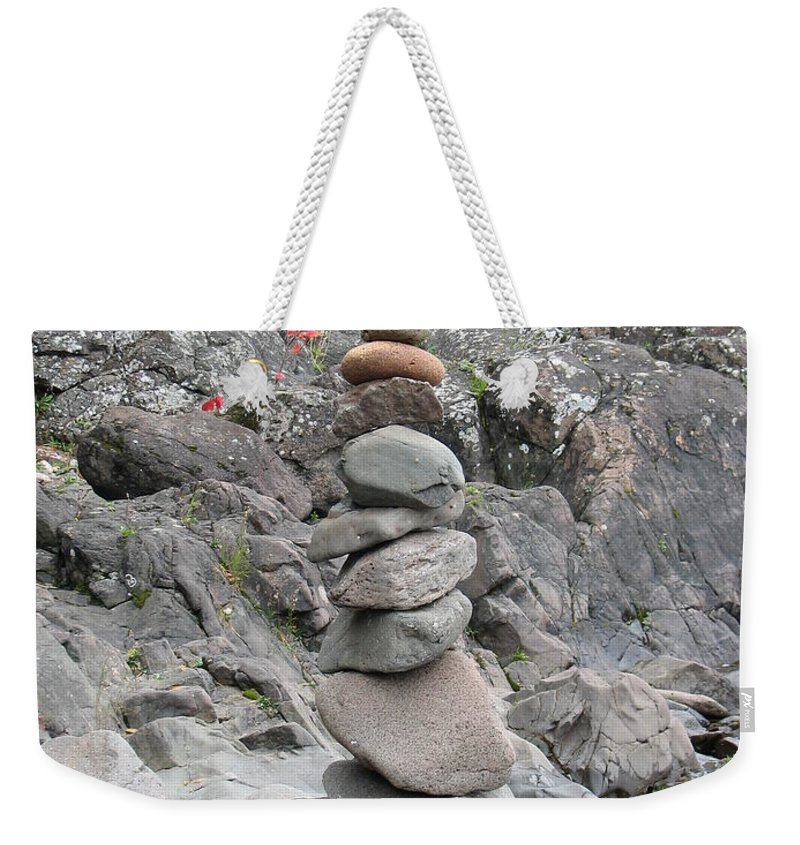 Stones Weekender Tote Bag featuring the photograph Precarious by Kelly Mezzapelle