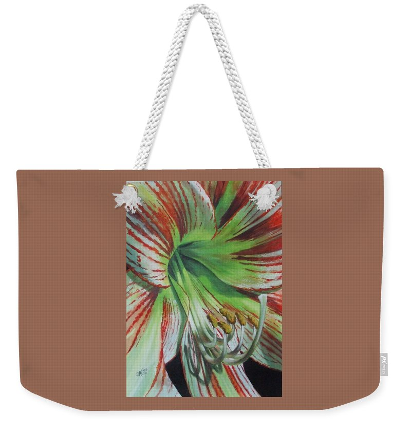 Amaryllis Weekender Tote Bag featuring the painting Precious by Barbara Keith