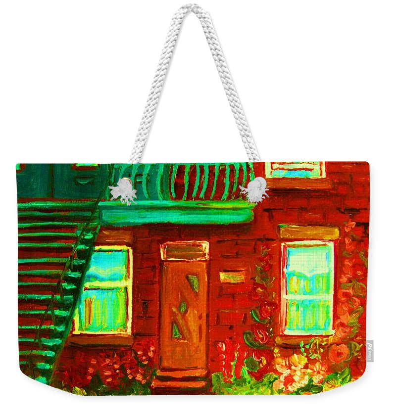 Little Flower Garden Weekender Tote Bag featuring the painting Precious Green Space by Carole Spandau