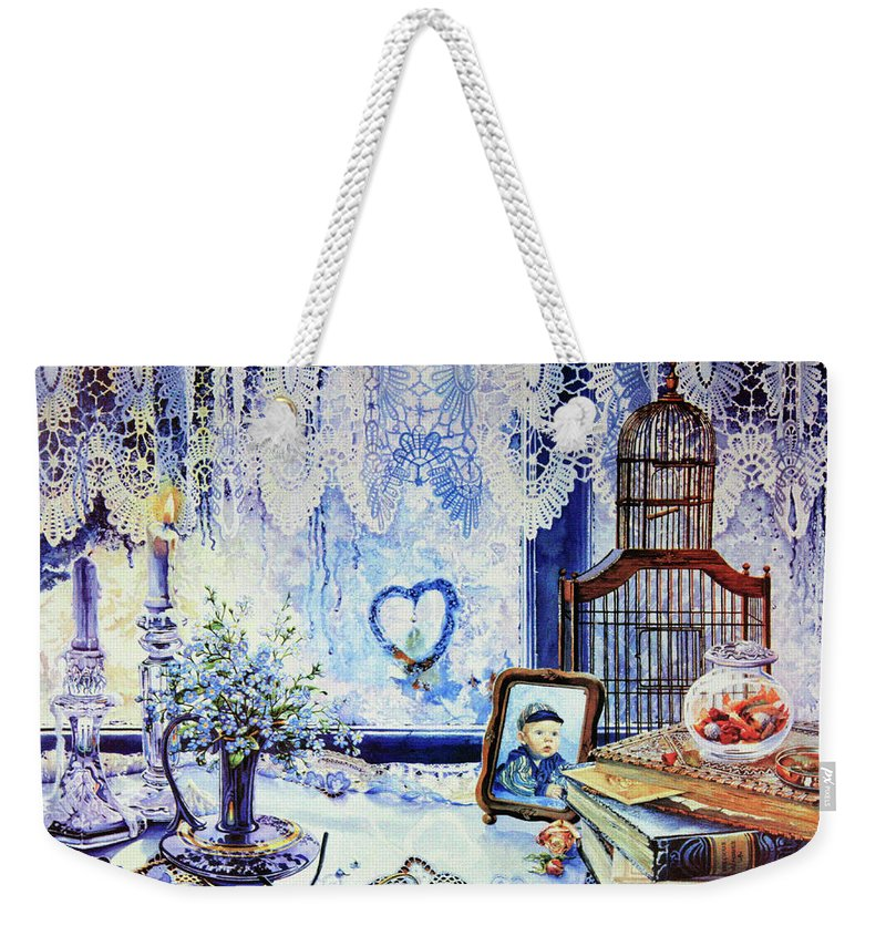 Lace Curtain Weekender Tote Bag featuring the painting Precious Memories by Hanne Lore Koehler