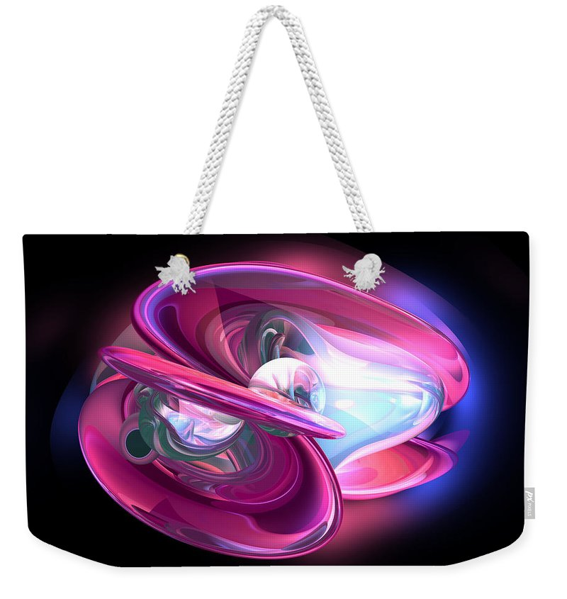 3d Weekender Tote Bag featuring the digital art Precious Pearl Abstract by Alexander Butler