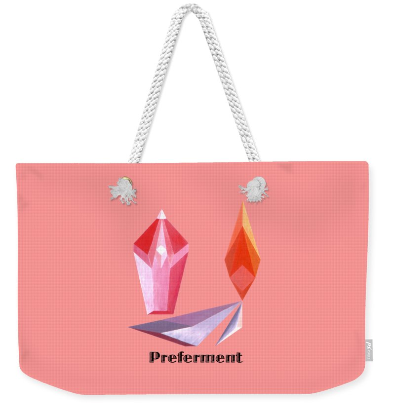 Painting Weekender Tote Bag featuring the painting Preferment text by Michael Bellon