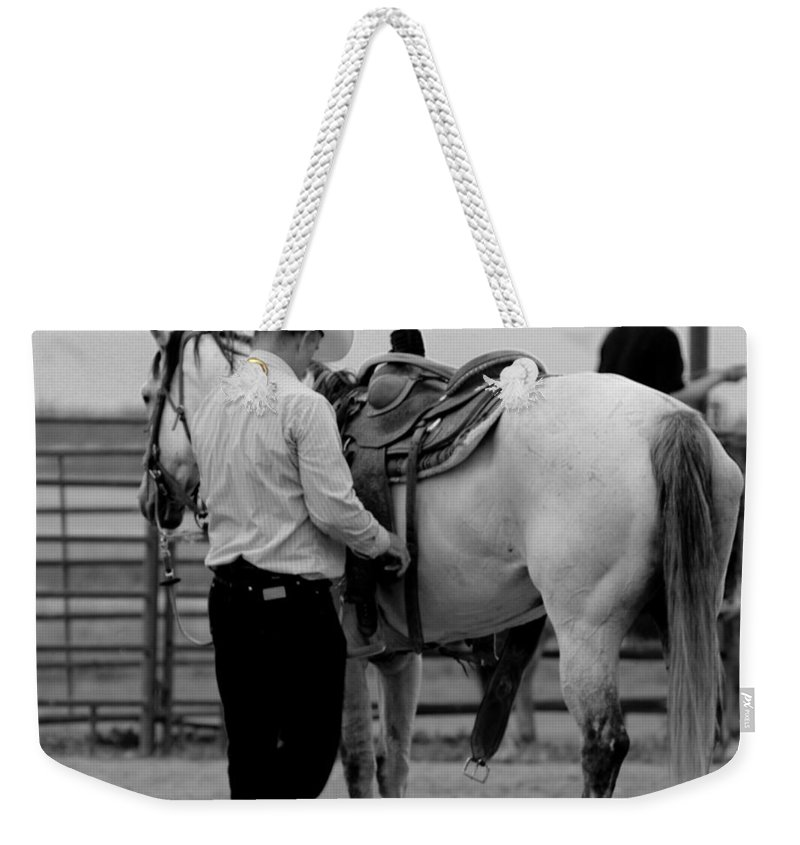 Rodeo Weekender Tote Bag featuring the photograph Preparing by Scott Sawyer