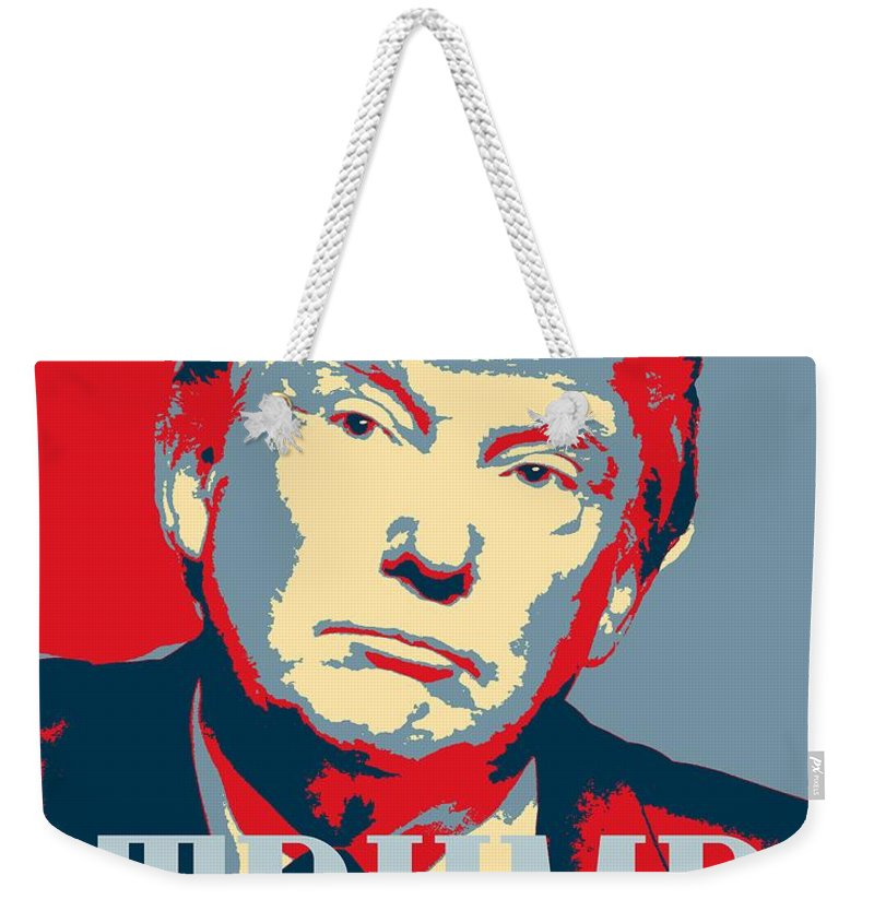 Man Weekender Tote Bag featuring the painting President Donald Trump Hope Poster 2 by Celestial Images
