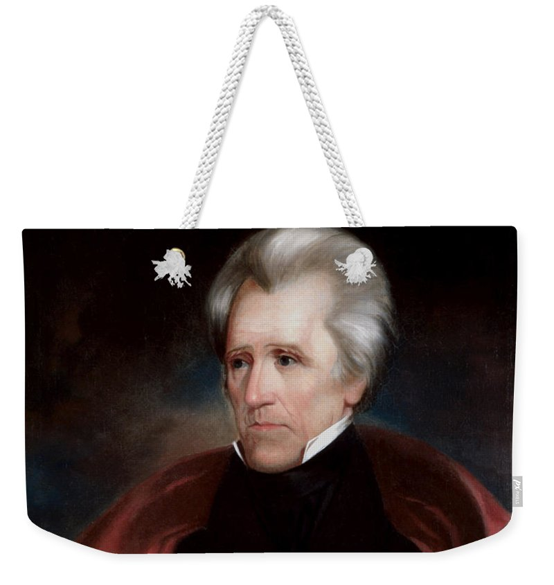 Andrew Jackson Weekender Tote Bag featuring the painting President Jackson by War Is Hell Store