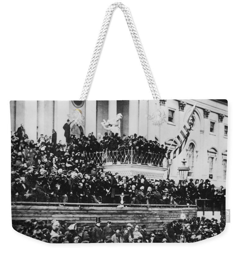 abraham Lincoln Weekender Tote Bag featuring the photograph President Lincoln Gives His Second Inaugural Address - March 4 1865 by International Images