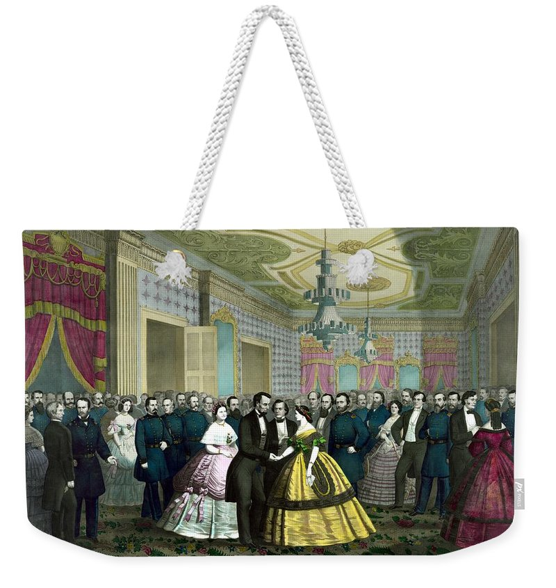 Abraham Lincoln Weekender Tote Bag featuring the painting President Lincoln's Last Reception by War Is Hell Store