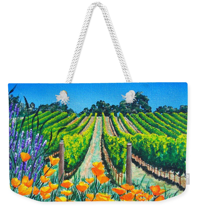 Vineyard Weekender Tote Bag featuring the painting Presidio Vineyard by Angie Hamlin