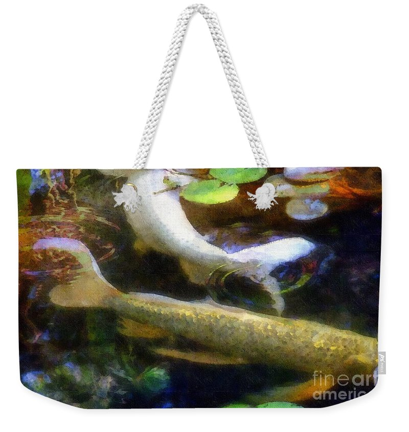 Fish Weekender Tote Bag featuring the painting Pretending To Be Coy by RC DeWinter