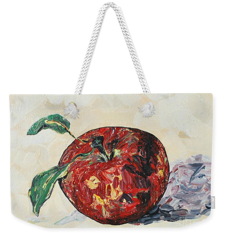 Apples Weekender Tote Bag featuring the painting Pretty Apple by Reina Resto
