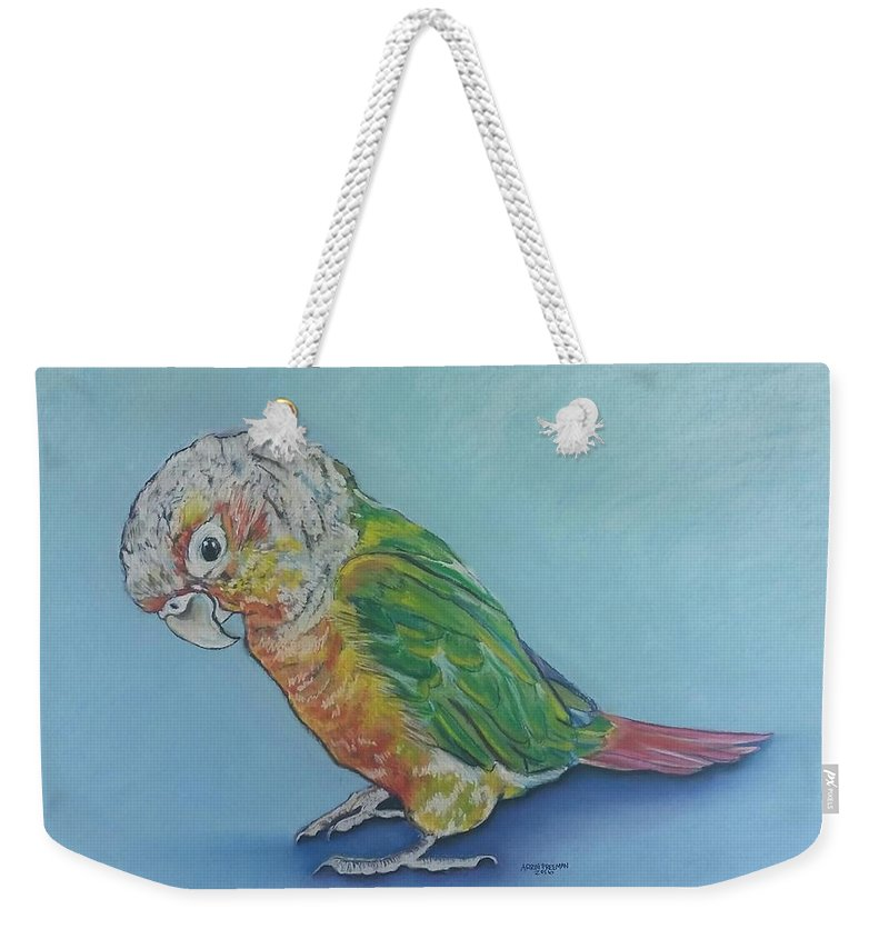 Bird Weekender Tote Bag featuring the painting Pretty Bird by Arrin Burgand
