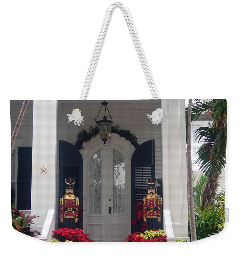 Houses In Key West Weekender Tote Bag featuring the photograph Pretty Christmas Decoration In Key West by Susanne Van Hulst