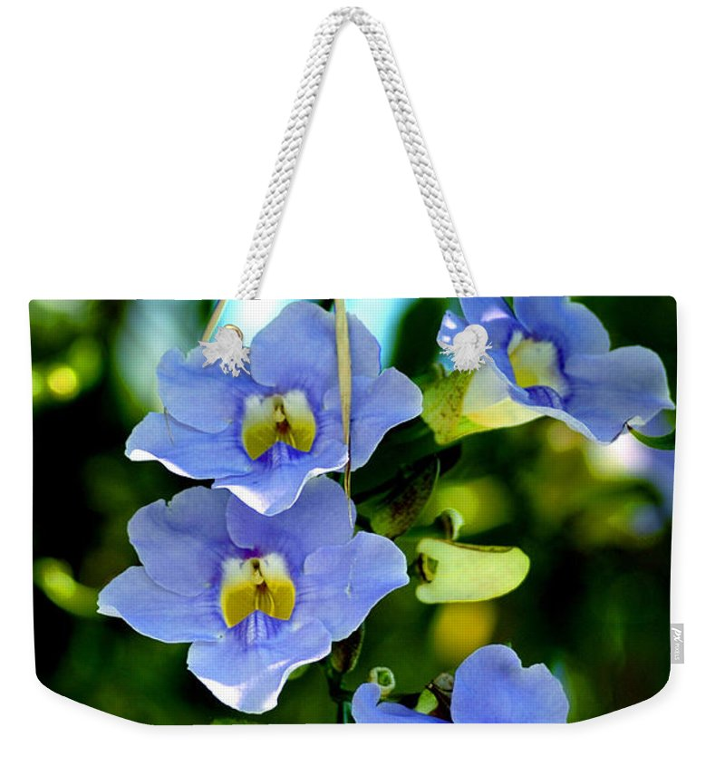 Flower Weekender Tote Bag featuring the photograph Pretty In Blue by Susanne Van Hulst