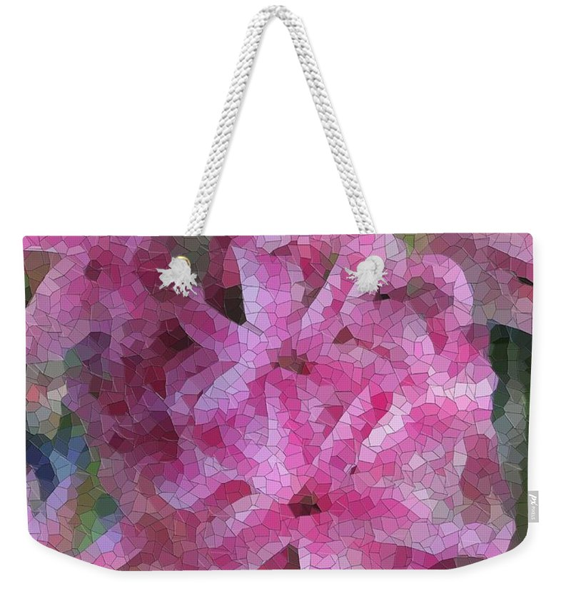 Flowers Weekender Tote Bag featuring the digital art Pretty In Pink by Tim Allen