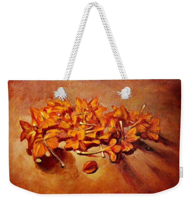 Usha Weekender Tote Bag featuring the painting Pretty Little Orange Flowers - Kankaambaram by Usha Shantharam