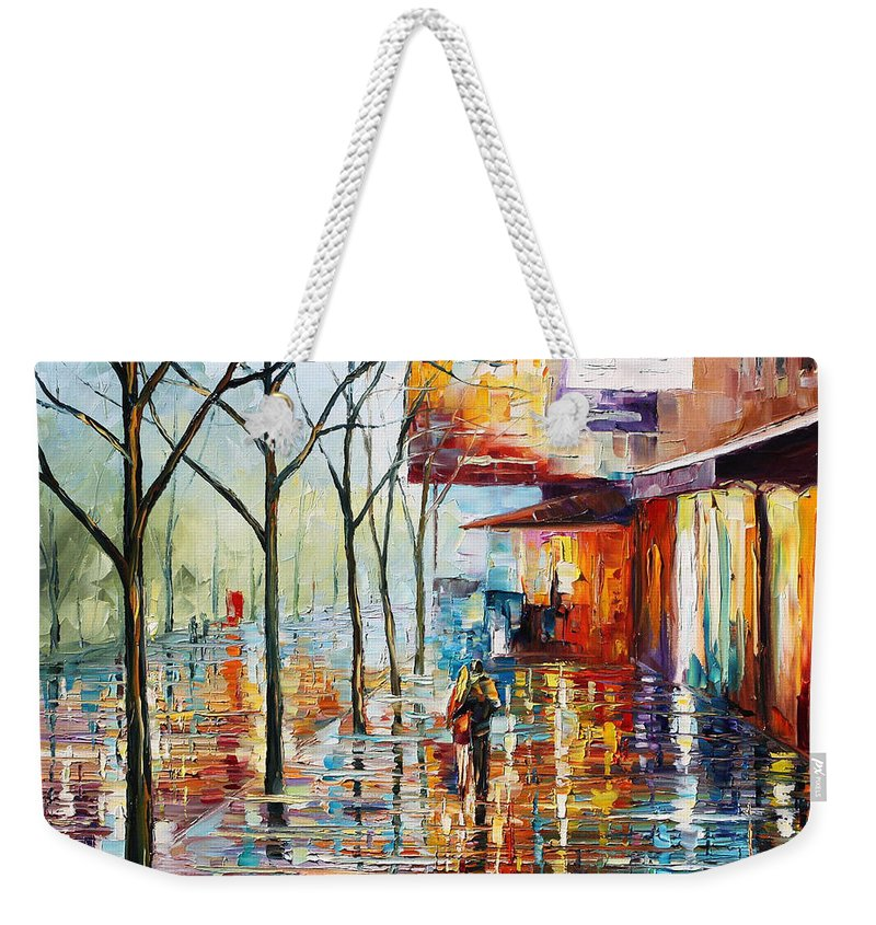 Afremov Weekender Tote Bag featuring the painting Pretty Rain by Leonid Afremov