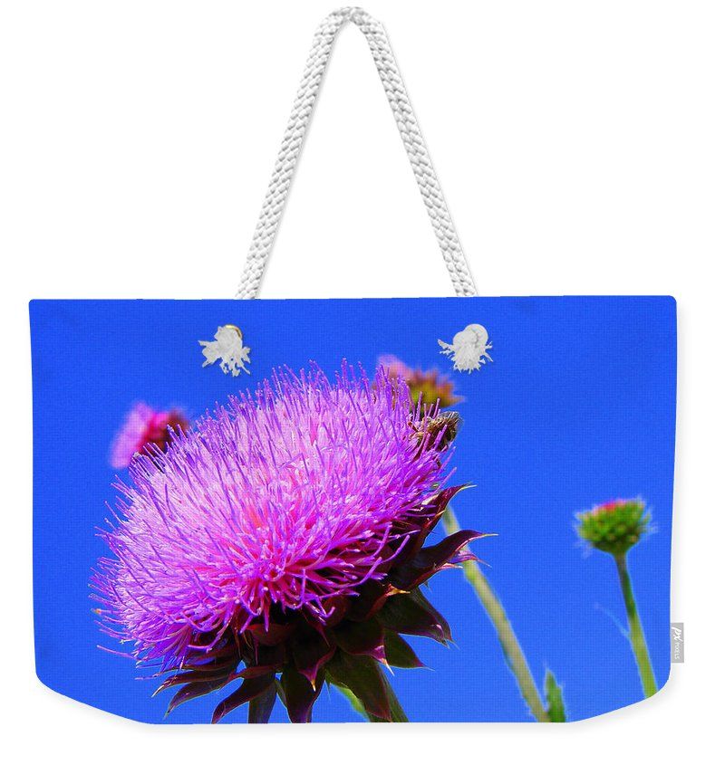 Thistle Bloom Weekender Tote Bag featuring the photograph Pretty Weed by J R  Seymour