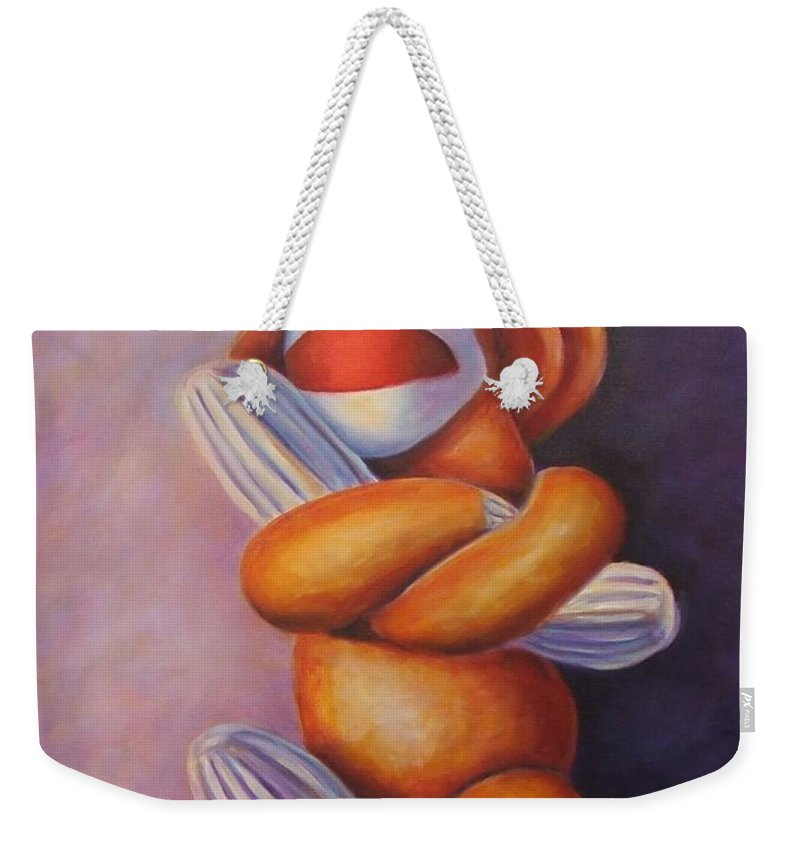 Sock Monkey Weekender Tote Bag featuring the painting Pretzel by Shannon Grissom