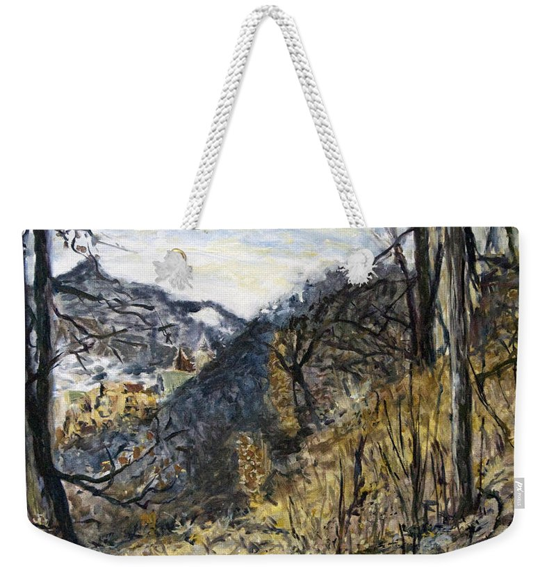 Landscape Weekender Tote Bag featuring the painting Pribeh - 1 by Pablo de Choros
