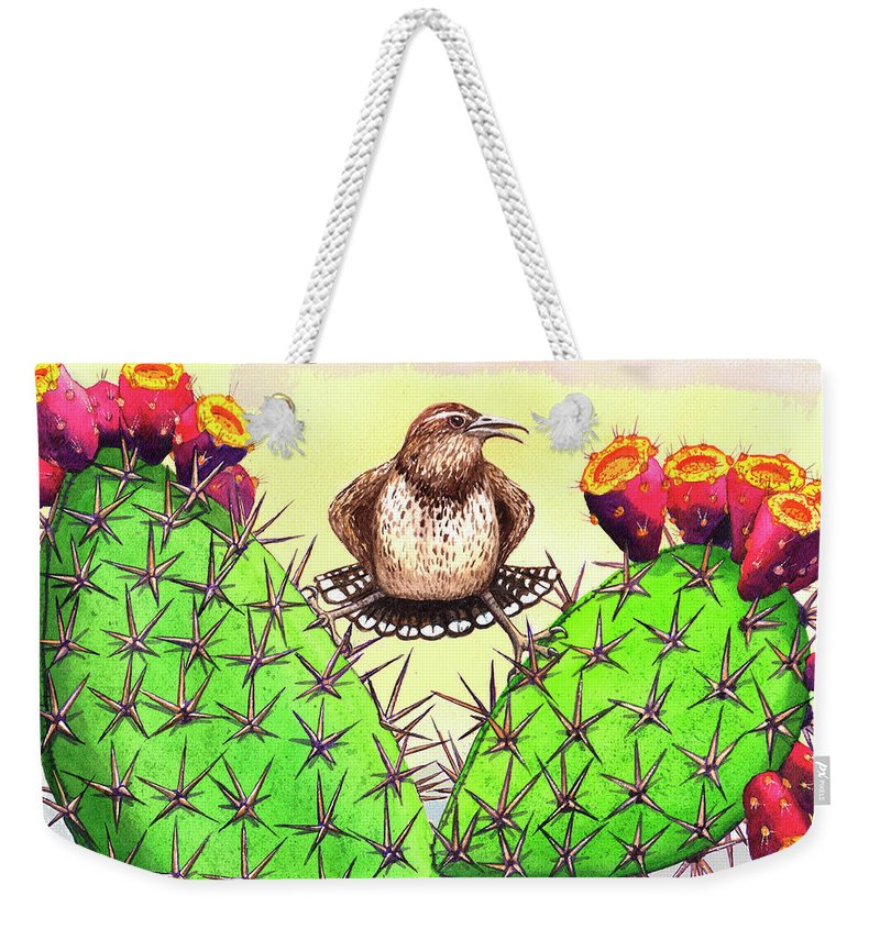 Wren Weekender Tote Bag featuring the painting Prickly by Catherine G McElroy