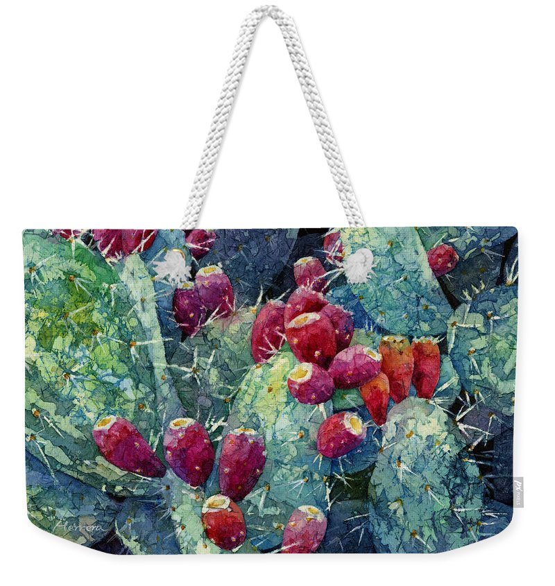 Cactus Weekender Tote Bag featuring the painting Prickly Pear 2 by Hailey E Herrera
