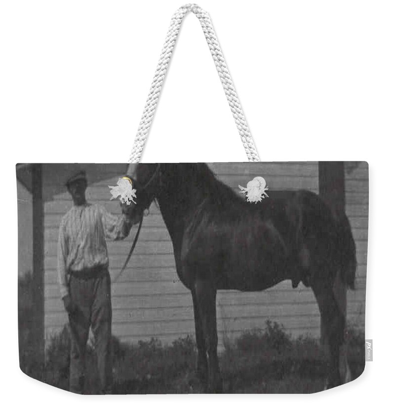 Old Photo Black And White Classic Saskatchewan Pioneers History Horse Clyde Sire Weekender Tote Bag featuring the photograph Pride And Joy by Andrea Lawrence