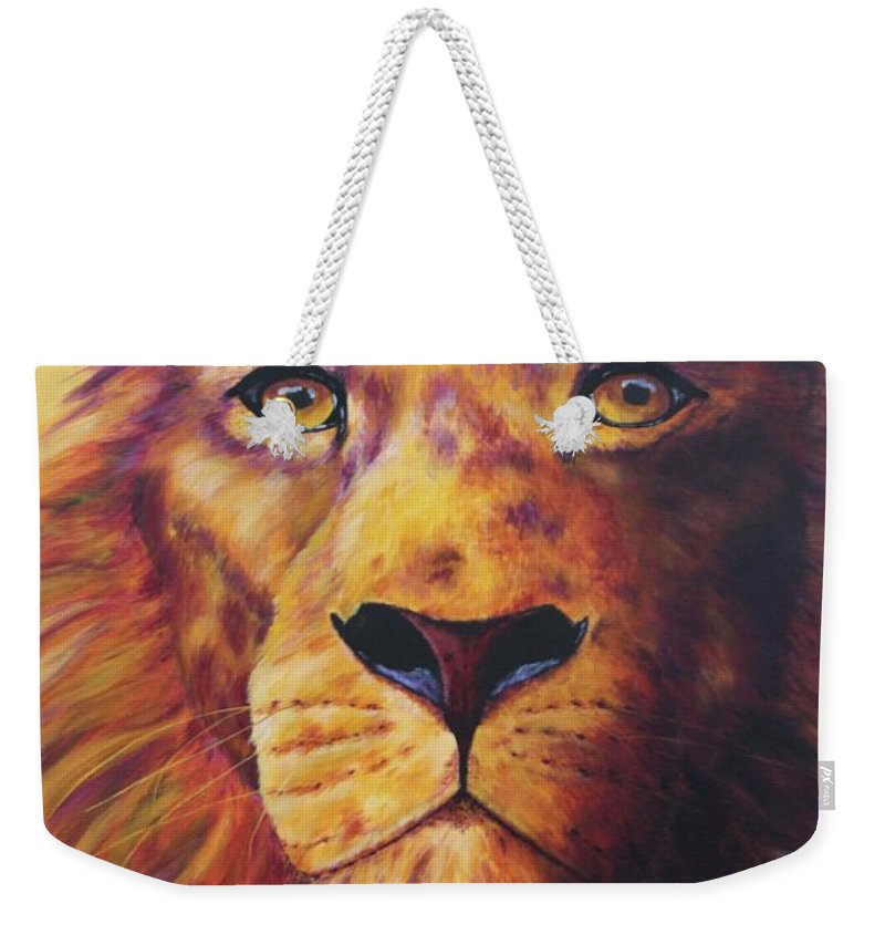 Lion Weekender Tote Bag featuring the painting Pride by Wendi Curtis