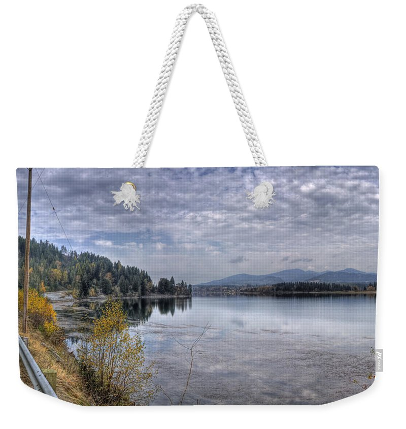 Weekender Tote Bag featuring the photograph Priest River Panorama 8 by Lee Santa