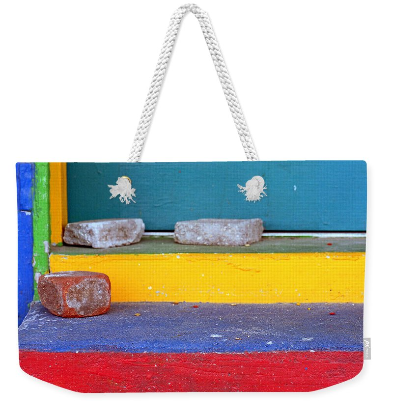 Red Weekender Tote Bag featuring the photograph Primary Colored Doorstep by John Harmon