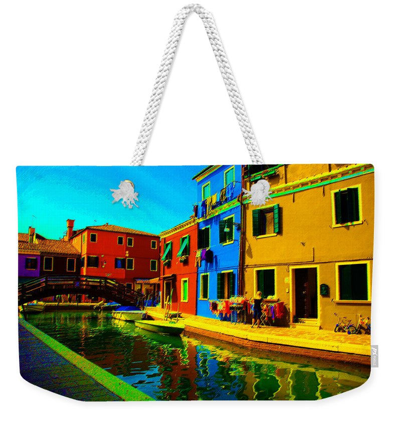 Burano Weekender Tote Bag featuring the pastel Primary Colors 2 by Donna Corless