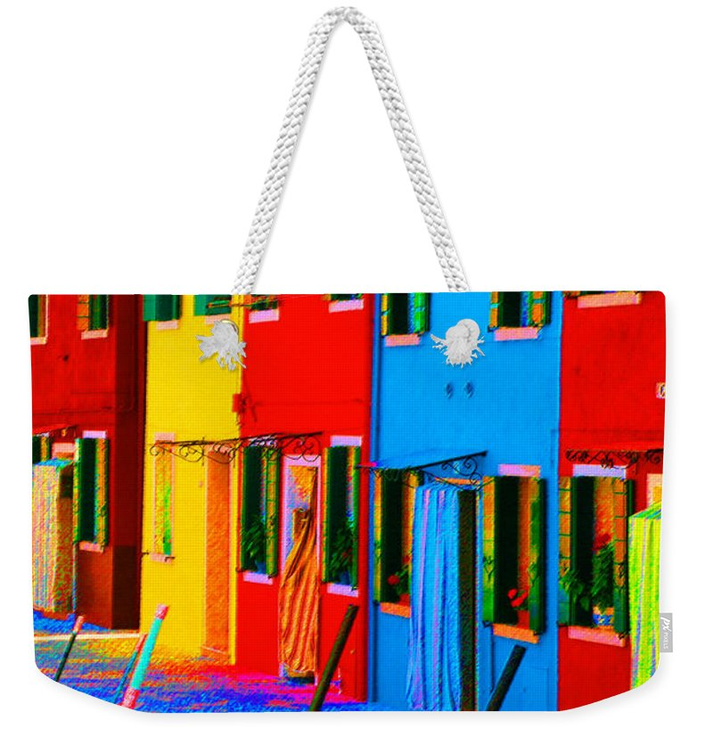 Burano Weekender Tote Bag featuring the photograph Primary Colors Of Burano by Donna Corless
