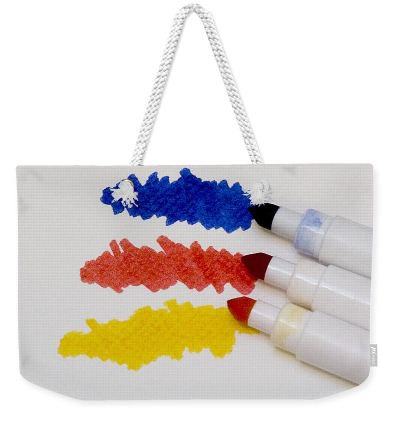 Primary Colors Weekender Tote Bag featuring the photograph Primary Colors by Marion McCristall